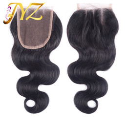Top knoT hair accessories online shopping - Top Quality Body Wave Swiss Lace Closure Brazilian Peruvian Indian Virgin Hair x4 Lace Closure Baby Hair Bleached Knots