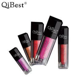 Cheap Lipsticks NZ - QiBest Waterproof Liquid Lipsticks Matte Lips Makeup Lip Gloss Long Lasting Lip Glosses Lips Sticks Cosmetics Cheap Price 12 Colors DHL Ship