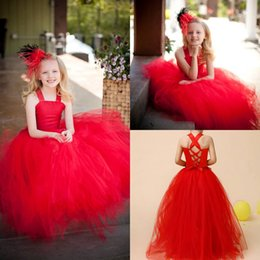 Barato Barato Meninas Vestidos Vermelhos-2016 Lovely Red Two Pieces Lace Up Flower Girls Vestidos para casamentos Tulle Floor Length Junior Girls Dresses Little Girls Wear Cheap MC0450