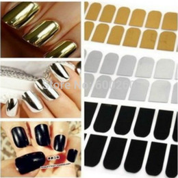 Décalcomanies Patchs Ongles Pas Cher-2016 New Nail Art lisse autocollant beauté Patch Foils Armour Wraps Décoration Decal Noir Or Argent
