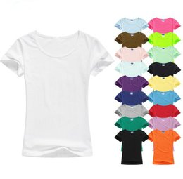 Discount elastic t shirts High Quality Colorful T Shirt Women Cotton Elastic Basic Shirts Female Casual Tops Short Sleeve T-shirt