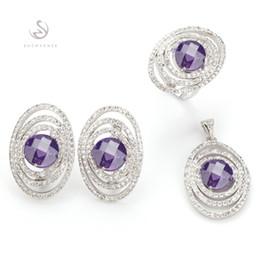 Copper Earrings Australia - Copper Rhodium Plated Cute heart set (ring earring pendant) Amethyst Cubic Zirconia Noble Generous MN3263set sz#6 7 Shinning New pattern