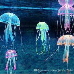 Venta al por mayor de Lindo Fluorescente Efecto Brillante Medusas Acuario Tanque de Peces Piscina Piscina Baño Deco Mini Noche lámpara de acuario