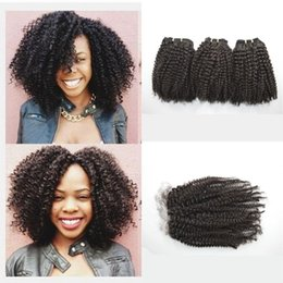 afro human hair malaysian Canada - G-EASY Virgin afro kinky curly malaysian human hair weave bundles 3 pcs with 1pc lace closure bleached knots with baby hair