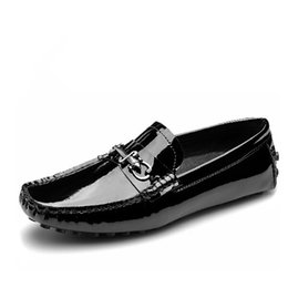 Toe Cars UK - Top Quality EUR 38-43 Black TOP Patent Leather SLIP-ON penny Loafer BUSINESS men driving car shoes moccasins