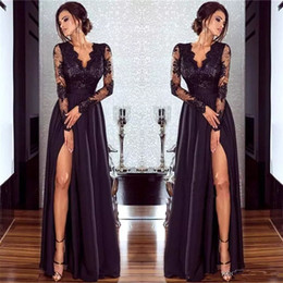hot sexy women picture NZ - Hot Sexy Black Lace Evening Dresses with Long Sleeves V Neck Women Formal Gowns Split A Line Party Prom Dresses Floor Length
