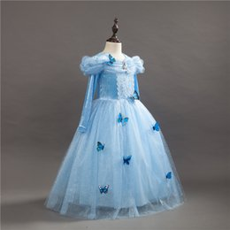cinderella costume movie Canada - Girl Dresses Cinderella Dress Costume Princess Party Dresses Girls Christmas Clothes Fresh Butterfly Dress For Teenagers