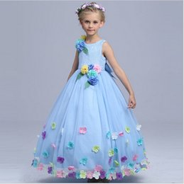 baby cinderella halloween costume Canada - Baby Girl High quality Cinderella Flower Fairy Costume Girls Party Maxi Dress Kids Princess Wedding Dresses Children Performance Dress Q64