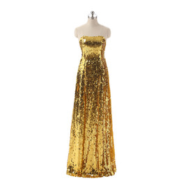 Cheap Sequined Dresses UK - Gold Sequined Evening Dresses 2017 Strapless Formal Occaion Prom Dress Cheap Real Photo Bling Bling Evening Gowns Vestidos De Fiesta