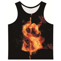 Sexy R Pas Cher-Vente en gros - 2017 New Harajuku Style 3D Tank Top Hommes Slim Funny Tops Fire Letters $ O M L F B R Q P A Print Vest Man Bodybuilding Clothing