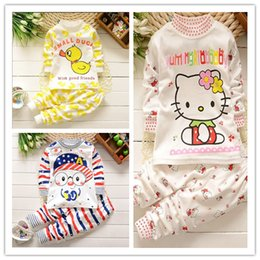 f079b187d newborn baby Hello kitty yellow duck sets Children clothing Baby girl boy  cute cotton Top+pants kids suit 0-5Y 1set pack CQZ032