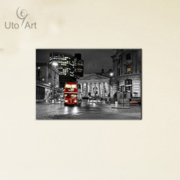 Street Art Canada - 2016 New Arrival Wholesale London Bus Canvas Painting Modern Home Decor Wall Art Picture Prints Street For Living Room Unframed