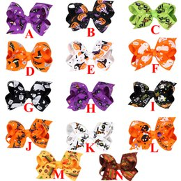 Barato Fita Do Dia Das Bruxas Para Curvas Do Cabelo-30 Pcs / Lot, Halloween Ghost Ribbon Bow Clip de cabelo, Halloween Hair Accessories Halloween hair clips Hairpin de moda