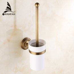 luxury antique bronze gold black finish toilet brush holder with ceramic cup bath decoration bathroom accessories hj 1309