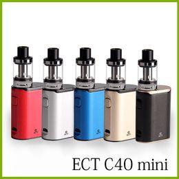 Discount mini box mods - original ECT C40 mini 40W e cigarette Box Mod Starter Kits 2.0ml 1800mah electronic cigarette vape pens