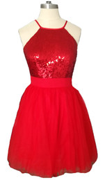 red little girl dresses UK - New Arrvial 2019 Women Scoop Homecoming Dresses Top Shining Sequins Red Chiffon Skirts Girls Back to School Sweet 16 Graduation Ball Dresses