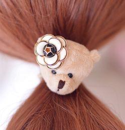 Hair Camellia Canada - 6PCS LOT high quality fashion brand cute teddy bear camellia DOUBLE elastic band hair rope for women children hair jewelry accessoreis