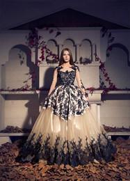 Fashion Trends Lace Dress Australia - 2016 Arabic Trend Ball Gown Evening Dresses Black Lace Prom Dress Champagne Tulle Appliques Arabian Dubai Long Sleeve Red Capet Dresses