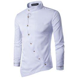 wedding dresses men slim 2019 - Wholesale- Irregular Shirt Men 2017 New Long Sleeve Chemise Homme Casual Slim Fit Button Down Mens Dress Shirts Print We