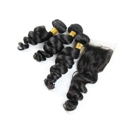 Indian Loose Wave Virgin Hair With Closure Unprocessed 8A Loose Deep Curly Remy Human Hair Bundles And Lace Closure Free Middle 3 Part cheap 8a virgin indian loose deep wave from 8a virgin indian loose deep wave suppliers