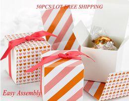 $enCountryForm.capitalKeyWord Canada - (50Pcs lot) Heart Love wedding gift box Reversible Hearts Wrap Boxes in Orange Pink for Wedding decoration favor box Paper box Free shipping