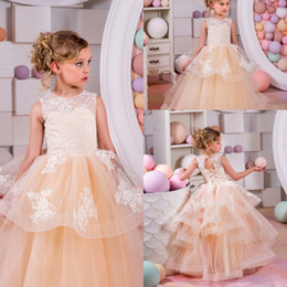 Jupes Formelles Pour Enfants Pas Cher-Princess Tiered Skirt Long Flower Girl Dresses 2016 Collier Dentelle Appliqué Tulle Formal Enfants Wear Wedding Party Guest Gowns Cheap