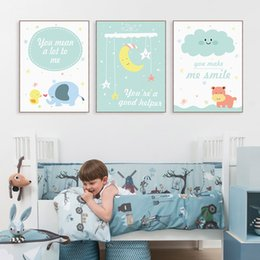 Baby Posters Canada - Modern Kawaii Animals Hippo Moon Quotes Canvas A4 Art Print Poster Nursery Wall Picture Kids Baby Room Decor Painting No Frame