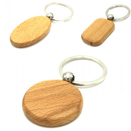 Carved Wood Ring Canada - Beautiful Blank Wooden DIY Keyring Keychain Key Chain Ring Carving Oval Round Square Heart Shape Key Holder Car Pendant E721E