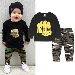 striped pants for kids Canada - Camouflage Boy Clothes Suit Infant Toddler Boys Girls Printed Clothes T-Shirts Tops + Striped Pants Costumes for Kids