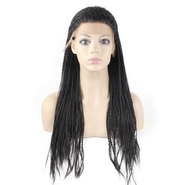 Micro Braided Wigs UK - Kanekalon Braiding Hair Wig Full Long Micro Braided Synthetic Lace Front wigs For Black Women, Braid Wig for Africa American