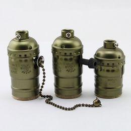 Toptan satış Vintage Edison Lamba Tutucu ile düğme anahtarı / Çekme zinciri Anahtarı Kolye Işık E27 / E26 Soket UL / 110 V / 220 V Lamba Tabanı