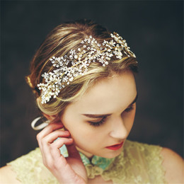 $enCountryForm.capitalKeyWord Canada - Wedding Bridal Princess Crown Tiara Headband Crystal Rhinestone Hair Band Ribbon Accessories Headpiece Jewelry Gold Pearl Headdress Vintage
