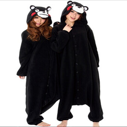 Costumes D'ours Noir Adultes Pas Cher-Costume Cosplay vente Super Hot Natural Garçons Filles Adulte Printemps noir Kumamon Ours Pyjamas Onesie Party Animal Pyjamas Anime Cartoon jumpsuit