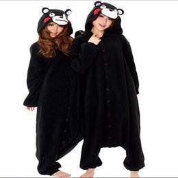 $enCountryForm.capitalKeyWord NZ - Super Natural Adult Spring Black Kumamon Bear Pajamas Onesie Animal Party Cosplay Costume Pyjamas Cartoon Anime panda animals jumpsuit