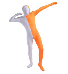 custom made skin suit Australia - Zentai Spandex Lycra White And Orange Hot Sale Split Second Skin Full Body Suit Free Shihpping