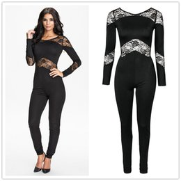Wholesale R70184 high quality long sleeve solid playsuit hot sale lace plus size bodysuit women new style fashion overalls for women
