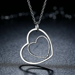 Heart Necklaces Silver NZ - Genuine 925 Sterling Silver Heart to Heart Pendant Necklaces with Clear CZ Elegant Engagement Wedding Jewelry for Women NL041