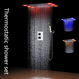 auto remotes Canada - New design remote control color change embed rectangular ceiling led shower set thermostatic shower head set