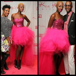 Robe À Bas Prix Pas Cher-Robes cocktail Graduation High Low Robes de bal 2017 sweetheart Bling Bling pailletée Tulle Fuchsia Party Customized ballkleider pas cher