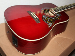 Guitar Electric Acoustic Canada - Very beautiful new red wine electric guitar Acoustic guitar with free shipping