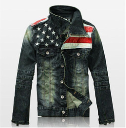 Barato Casuais Mens Casacos De Couro-New Mens American Flag Suit Jeans Jaqueta PU Leather Patchwork Vintage Distressed motocicleta Denim Jacket For Men coat