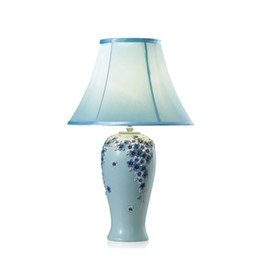 $enCountryForm.capitalKeyWord Canada - OOVOV Pastoral Flowers Bedroom Table Lamp European Resin Fabric Living Room Princess Room Desk Lamps Blue