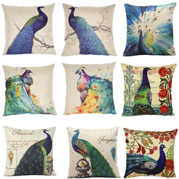 ethnic cushions covers Australia - 2016 Ethnic Peacock Decorative Pillow Covers Printed Cushion Covers Flax 17 Patterns Choose Freely Drop Shipping