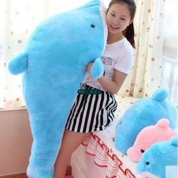 $enCountryForm.capitalKeyWord NZ - Dorimytrader Hot 140cm Giant Animal Dolphin Pillow Doll Plush Soft Stuffed 55'' Dolphins Toy Baby Gift 2 Colors Free Shipping DY61064