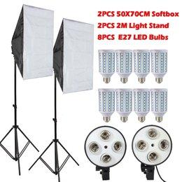 Ingrosso Freeshipping 8PCS Lampade E27 LED Lampadine Fotografia Kit di illuminazione Foto Equipment + 2PCS Softbox Lightbox + Light Stand Per Photo Studio Diffusore