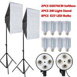 Vente en gros Livraison gratuite 8 PCS Lampes E27 LED photographie éclairage Kit Kit Photo Equipment + 2 PCS Softbox Lightbox + support de lumière pour Photo Studio diffuseur