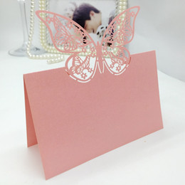 Discount laser cut birthday cards - Typy_3 200pcs Laser Cut Hollow Double Butterfly Paper Table Card Number Name Place Card For Party Wedding Decorate Custo