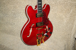 $enCountryForm.capitalKeyWord Canada - Custom 335 Jazz Guitar Red With Tremolo system Electric Guitar Gold Hardware Ebony fingerboard High Quality Wholesale Guitars A11119