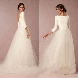 Images De Robe De Jupe Supérieure Pas Cher-Pas cher Superbe hiver robes de mariée Une ligne Satin Top Backless 2016 Robes de mariée avec manches Simple Soft Design Tulle Jupe balayage train