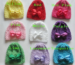 "Crochet Hair Beanie Australia - 5pcs baby waffle crochet hats hair bows clips sunny soft toddler beanie with 3"" bows stretch caps feshion hot sell MZ9114"